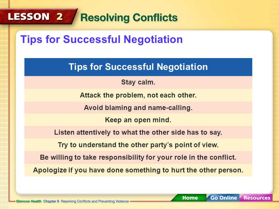 Preparing for Negotiation Choose the time and place carefully.