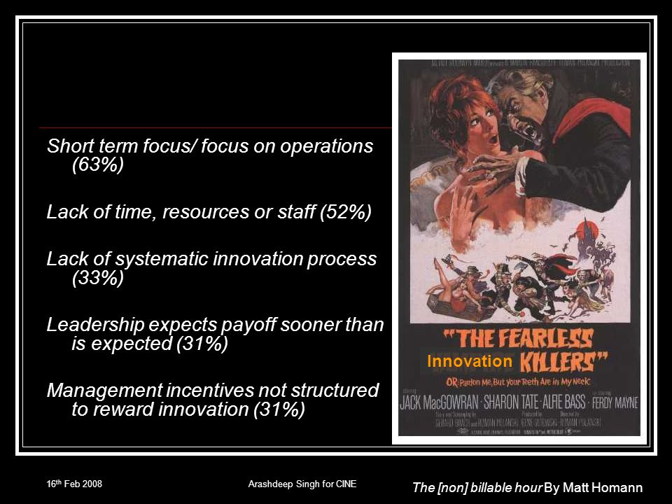 16 th Feb 2008Arashdeep Singh for CINE Short term focus/ focus on operations (63%) Lack of time, resources or staff (52%) Lack of systematic innovatio