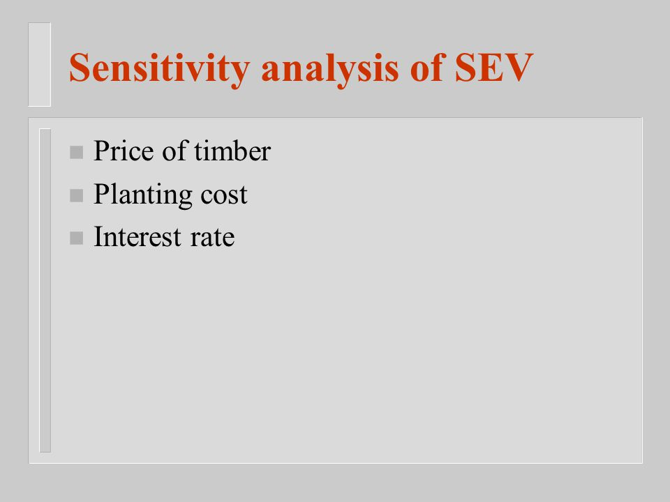 n Price of timber n Planting cost n Interest rate Sensitivity analysis of SEV