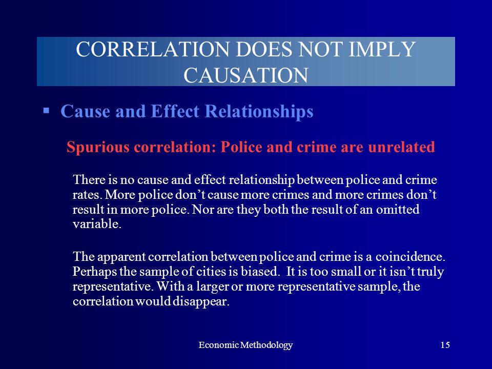 Economic Methodology15  Cause and Effect Relationships Spurious correlation: Police and crime are unrelated There is no cause and effect relationship between police and crime rates.