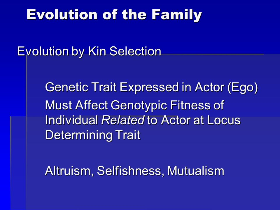Evolution of the Family Evolution by Kin Selection Genetic Trait Expressed in Actor (Ego) Must Affect Genotypic Fitness of Individual Related to Actor