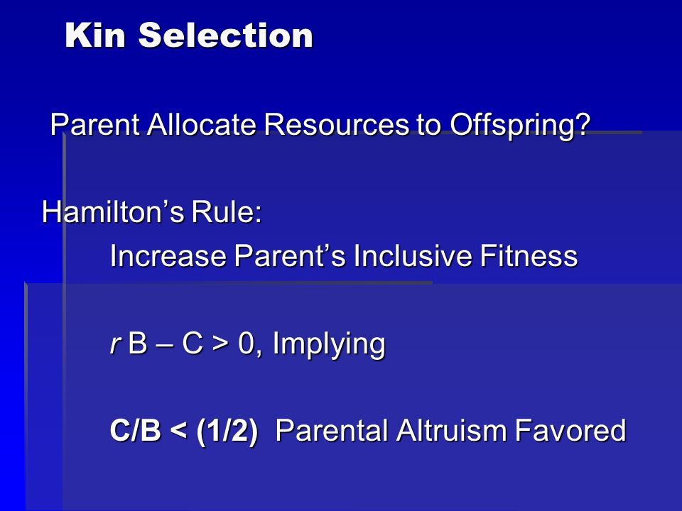 Kin Selection Parent Allocate Resources to Offspring? Parent Allocate Resources to Offspring? Hamilton's Rule: Increase Parent's Inclusive Fitness r B