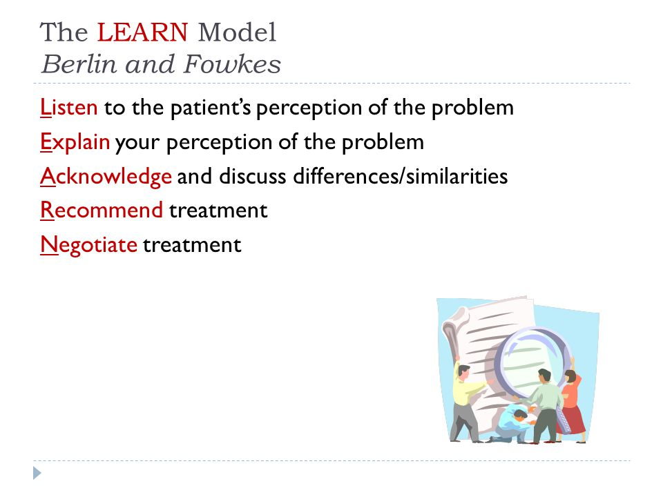 The LEARN Model Berlin and Fowkes Listen to the patient's perception of the problem Explain your perception of the problem Acknowledge and discuss differences/similarities Recommend treatment Negotiate treatment