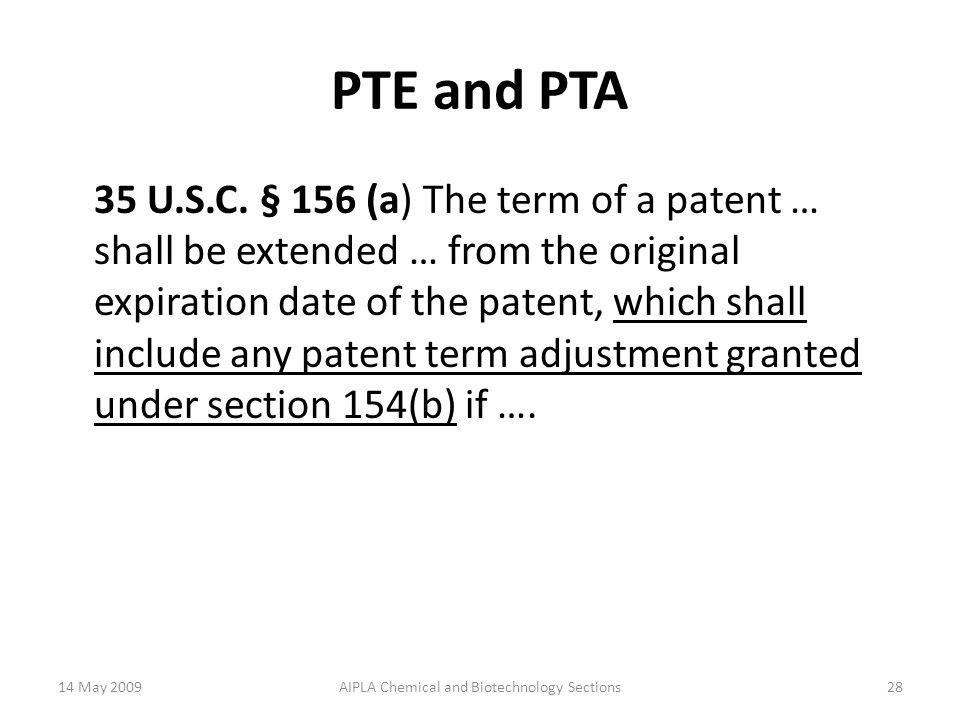 PTE and PTA 35 U.S.C.