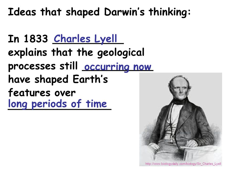Ideas that shaped Darwin's thinking: In 1833 ___________ explains that the geological processes still ___________ have shaped Earth's features over ________________ Charles Lyell occurring now http://www.biologydaily.com/biology/Sir_Charles_Lyell long periods of time