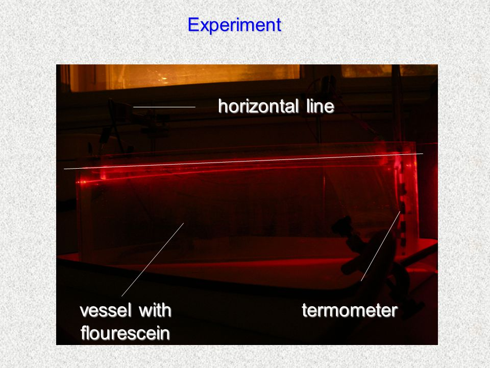 Experiment horizontal line vessel with flourescein termometer