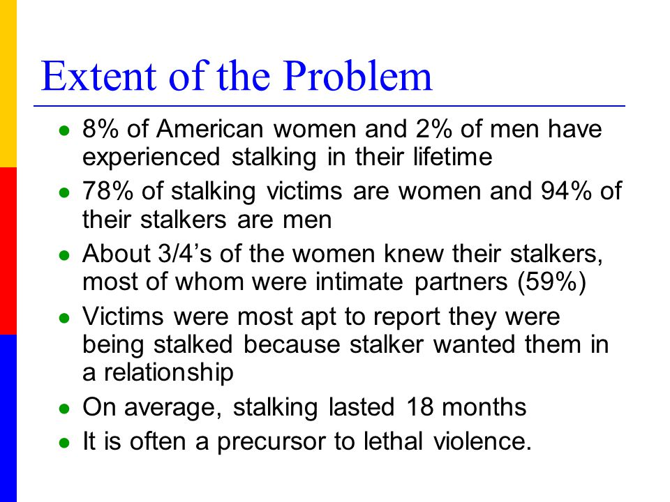 Victim/Offender Relationship ● Stalking can occur: during a relationship after a relationship or in the absence of a relationship.