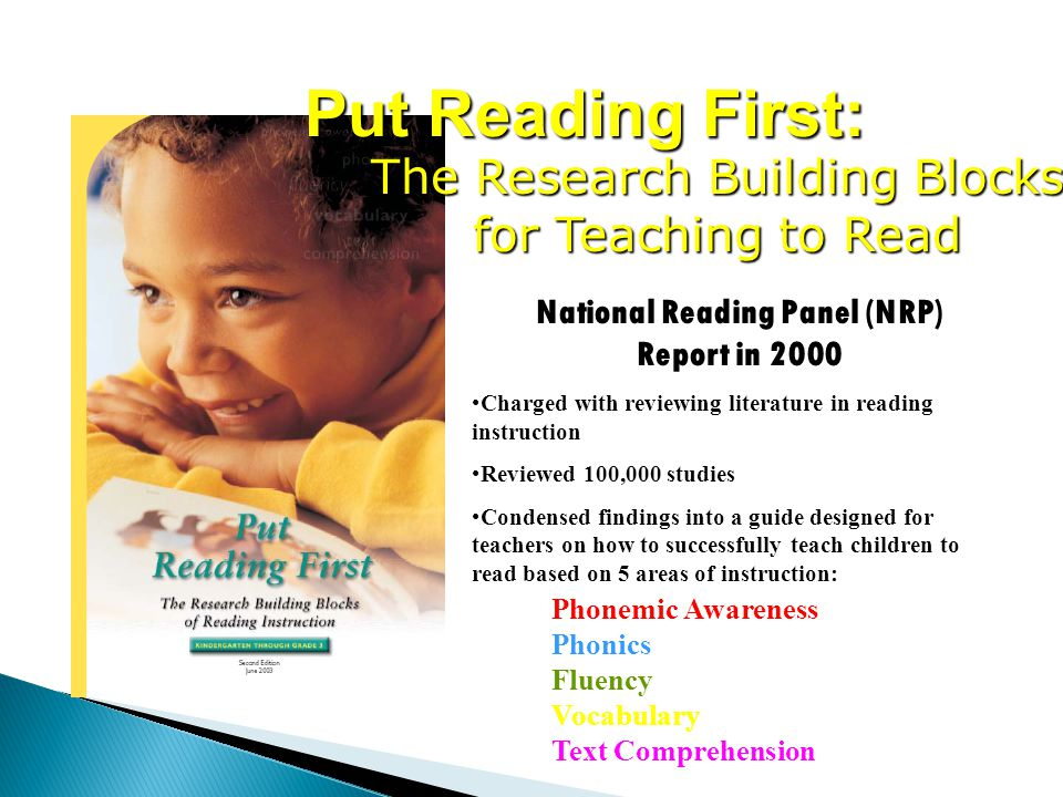 Put Reading First: The Research Building Blocks for Teaching to Read National Reading Panel (NRP) Report in 2000 Charged with reviewing literature in reading instruction Reviewed 100,000 studies Condensed findings into a guide designed for teachers on how to successfully teach children to read based on 5 areas of instruction: Phonemic Awareness Phonics Fluency Vocabulary Text Comprehension