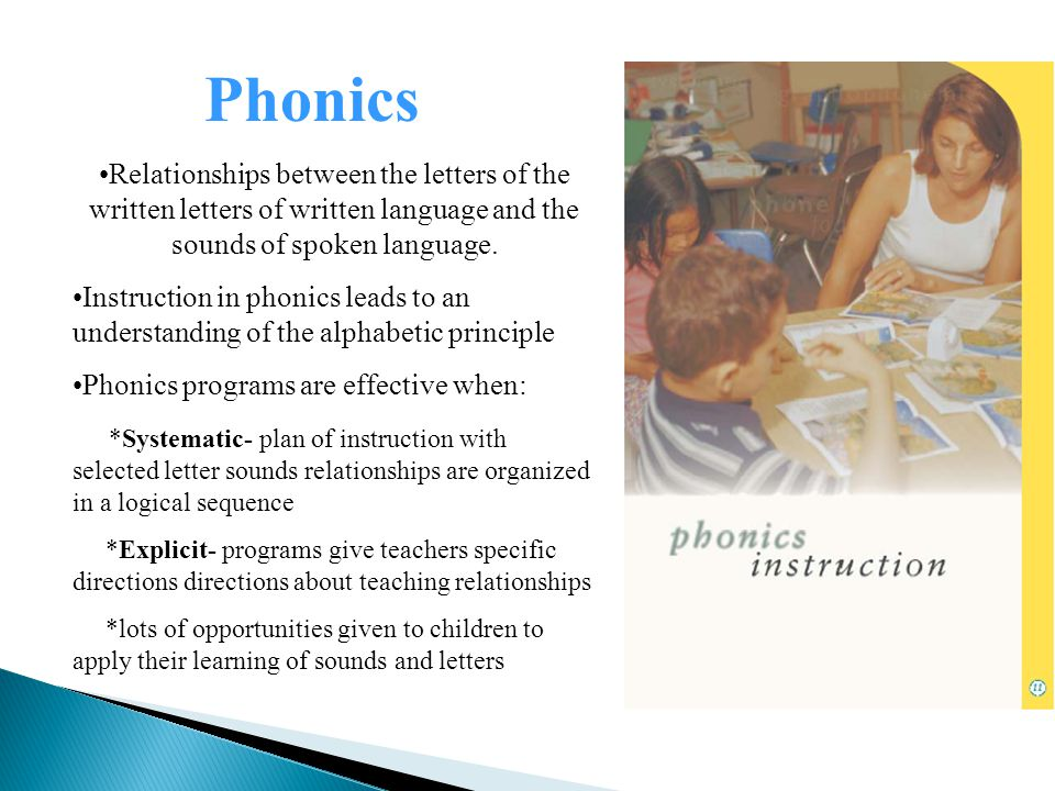 Relationships between the letters of the written letters of written language and the sounds of spoken language.