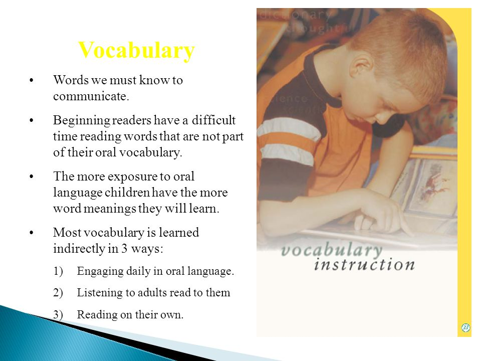 Vocabulary Words we must know to communicate.
