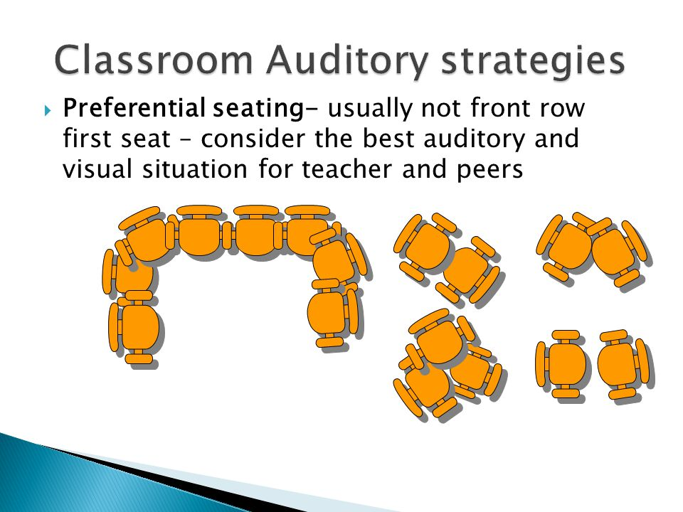  Preferential seating- usually not front row first seat – consider the best auditory and visual situation for teacher and peers