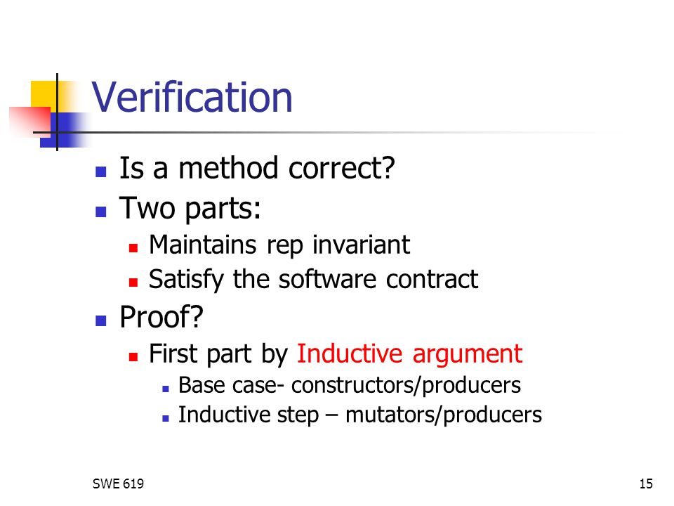 SWE 61915 Verification Is a method correct? Two parts: Maintains rep invariant Satisfy the software contract Proof? First part by Inductive argument B