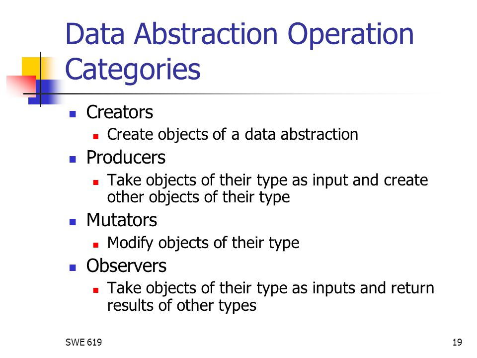 SWE 61919 Data Abstraction Operation Categories Creators Create objects of a data abstraction Producers Take objects of their type as input and create other objects of their type Mutators Modify objects of their type Observers Take objects of their type as inputs and return results of other types