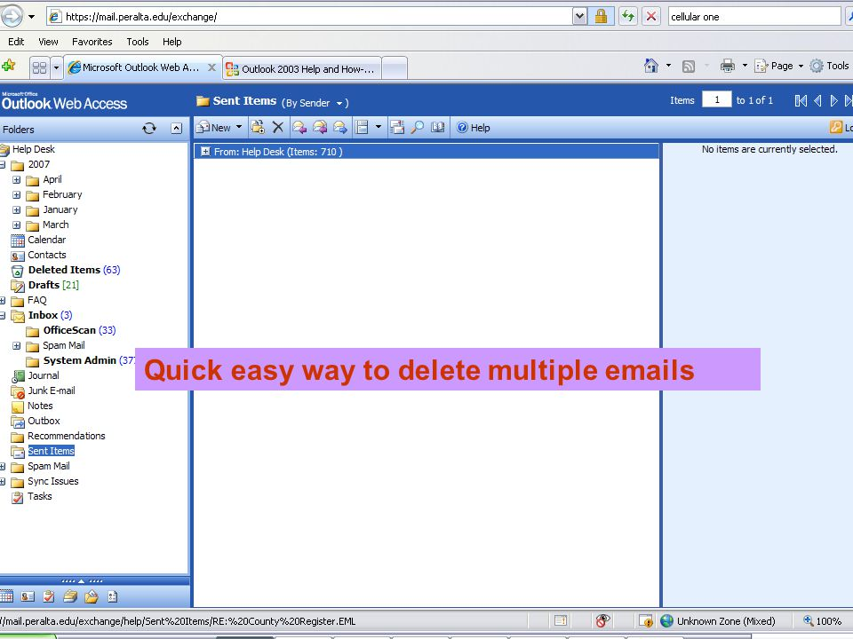 Quick easy way to delete multiple emails