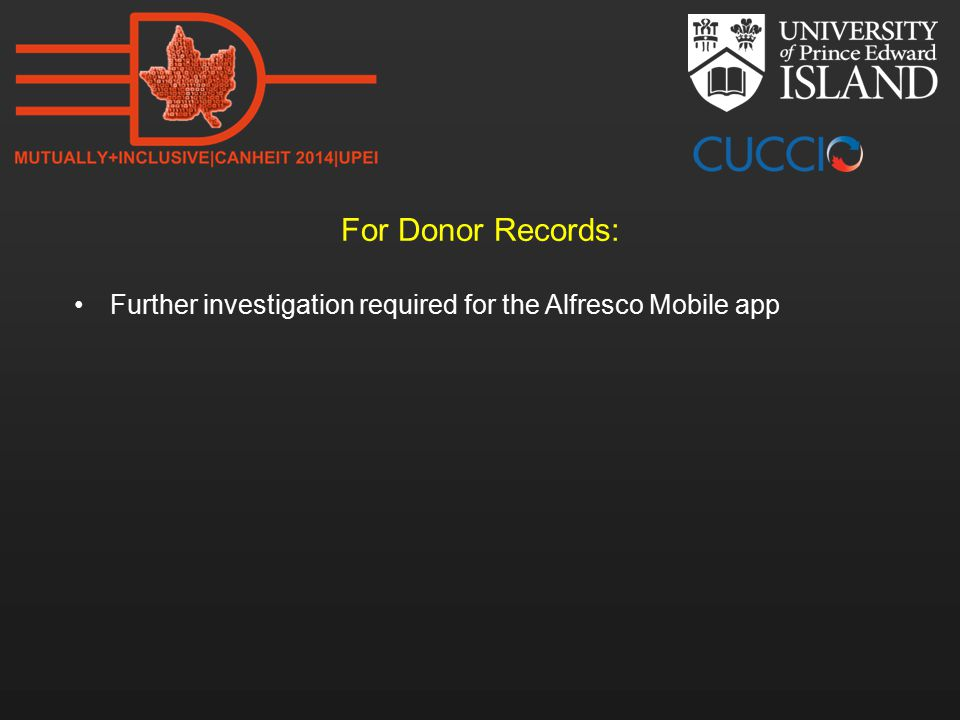 For Donor Records: Further investigation required for the Alfresco Mobile app