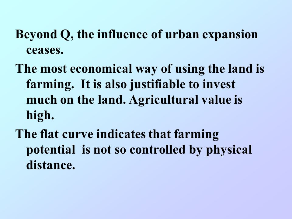 From P-Q, immediate urban expansion does not occur in the meanwhile. But sooner or later, the land will be replaced by urban uses. It is not justifiab