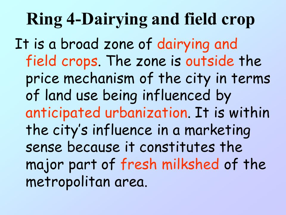 Ring 3-Field crop and grazing It is a field crop and grazing zone. It is an area of transitional agriculture, where farming is carried on. Farmers do