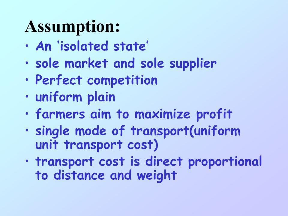 LR=Yp-Yc-Ytd LR = locational rent Y = yielding (tonne/ha) p = price ($/tonne) c = production cost ($/tonne) t = unit transport cost ($/tonne/km) d = d