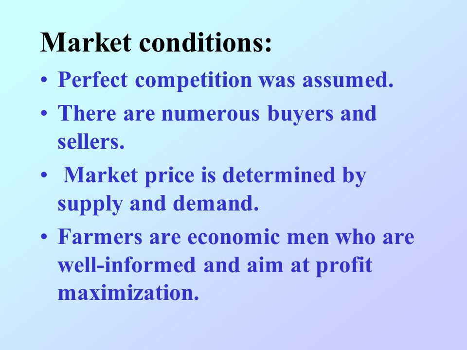 Assumption: An 'isolated state' sole market and sole supplier Perfect competition uniform plain farmers aim to maximize profit single mode of transpor