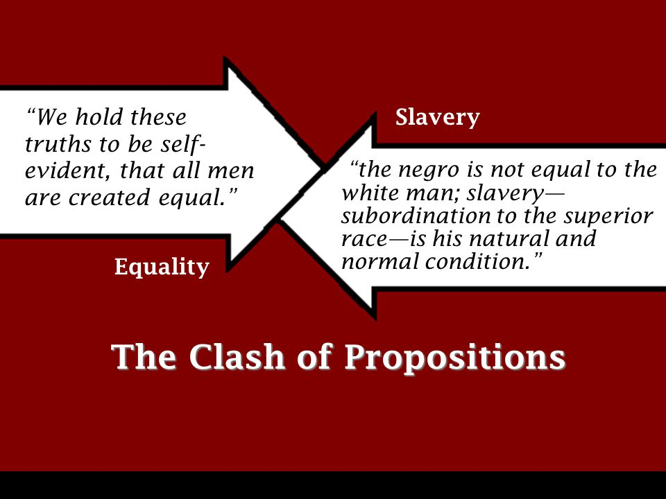 We hold these truths to be self- evident, that all men are created equal. the negro is not equal to the white man; slavery— subordination to the superior race—is his natural and normal condition. The Clash of Propositions Equality Slavery