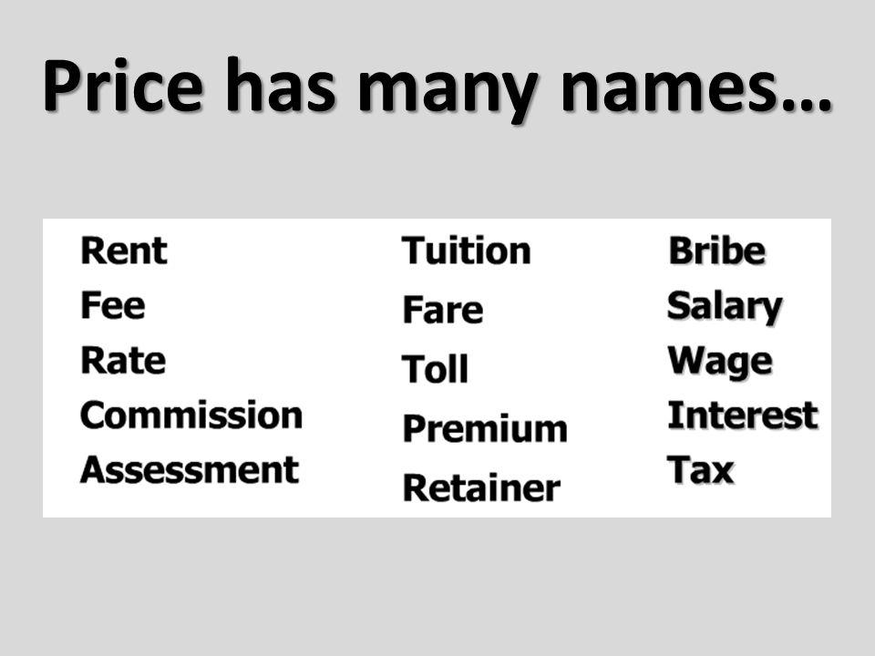 Price has many names…