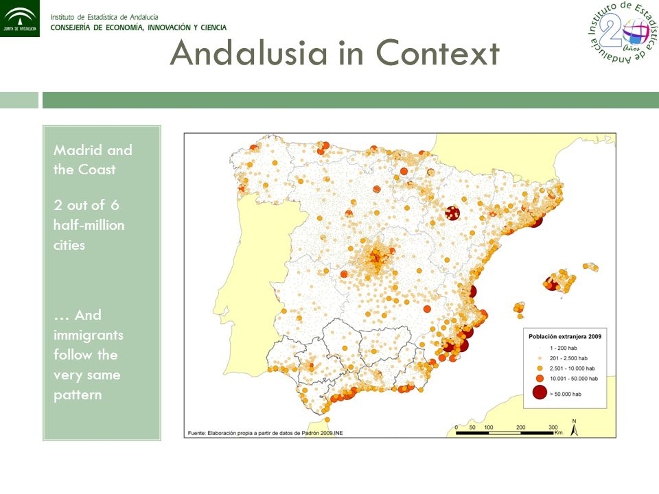 Andalusia in Context Madrid and the Coast 2 out of 6 half-million cities … And immigrants follow the very same pattern