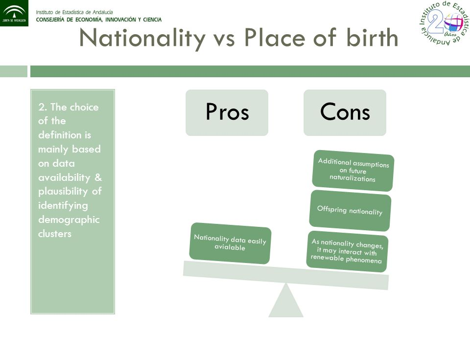 Nationality vs Place of birth 2. The choice of the definition is mainly based on data availability & plausibility of identifying demographic clusters