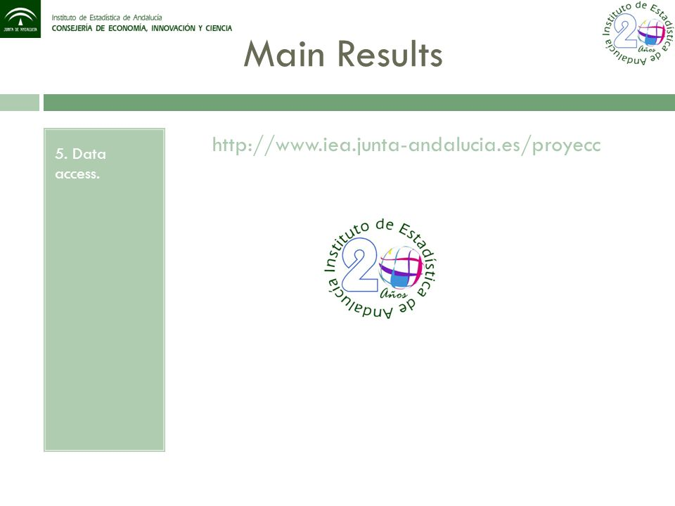 Main Results 5. Data access. http://www.iea.junta-andalucia.es/proyecc