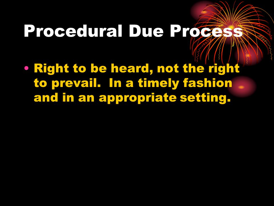 Procedural Due Process Right to be heard, not the right to prevail. In a timely fashion and in an appropriate setting.