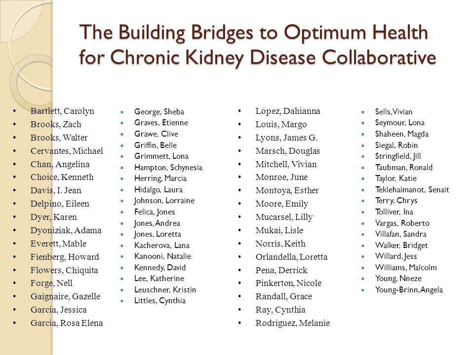 The Building Bridges to Optimum Health for Chronic Kidney Disease Collaborative Sells, Vivian Seymour, Lona Shaheen, Magda Siegal, Robin Stringfield,