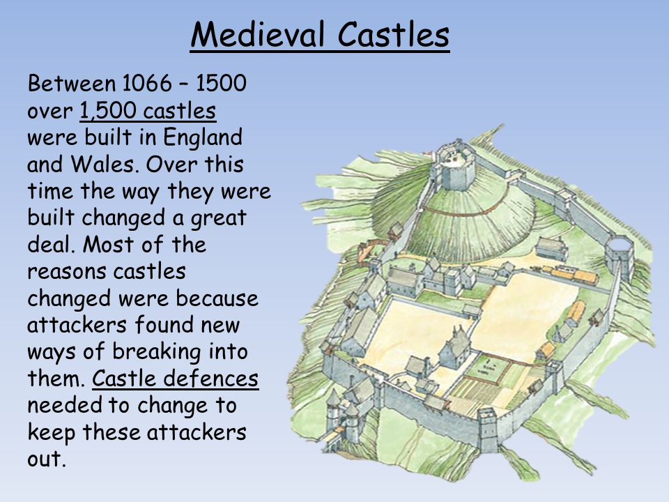 Medieval Castles Between 1066 – 1500 over 1,500 castles were built in England and Wales. Over this time the way they were built changed a great deal.