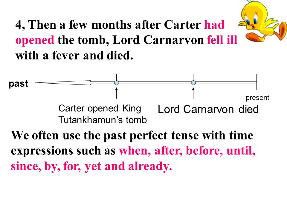 4, Then a few months after Carter had opened the tomb, Lord Carnarvon fell ill with a fever and died.
