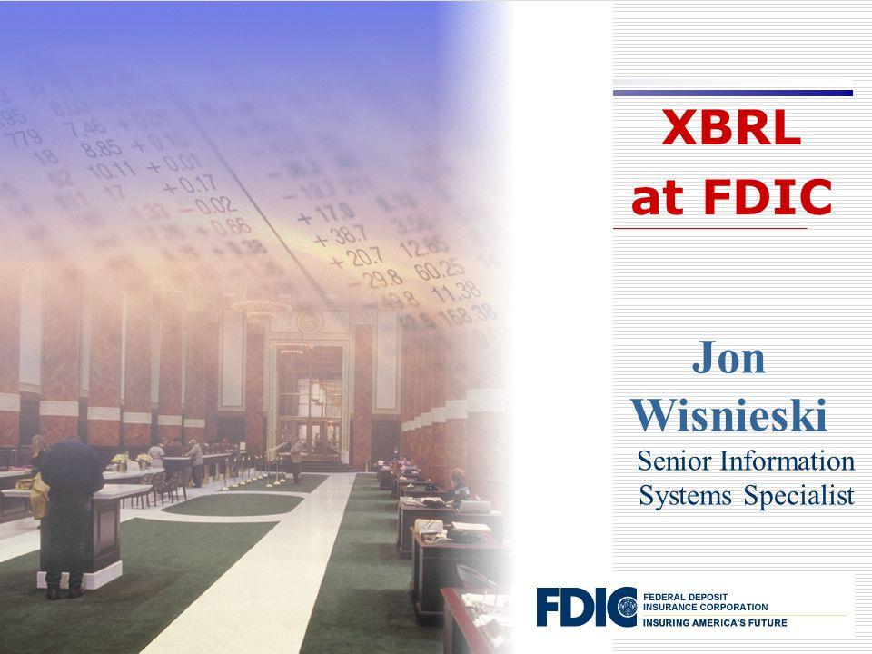 Jon Wisnieski Senior Information Systems Specialist XBRL at FDIC