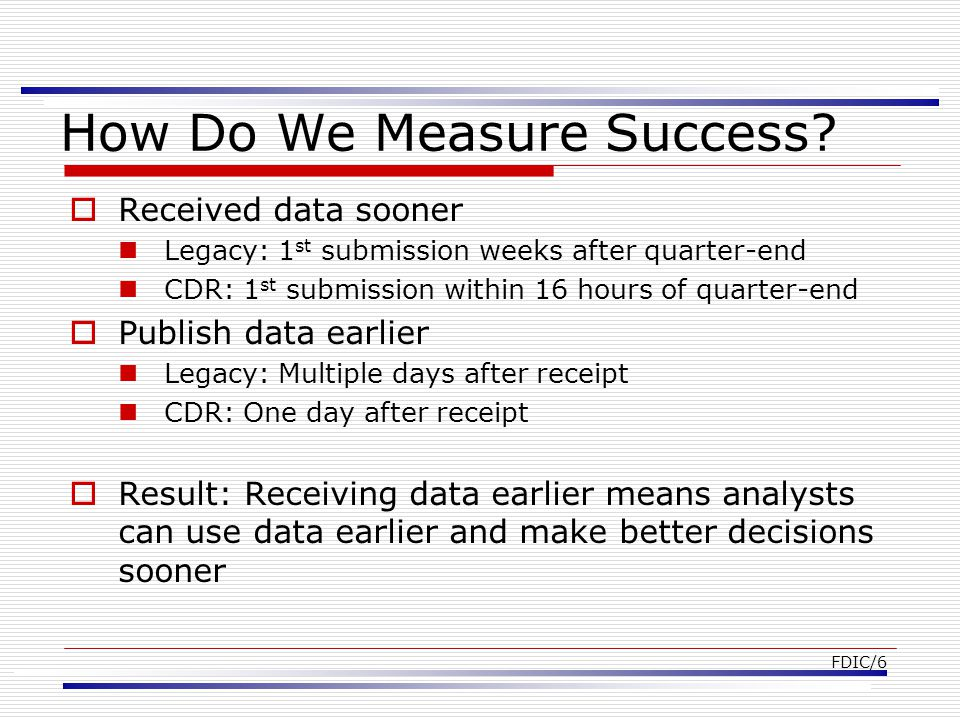 FDIC/7 How Do We Measure Success.