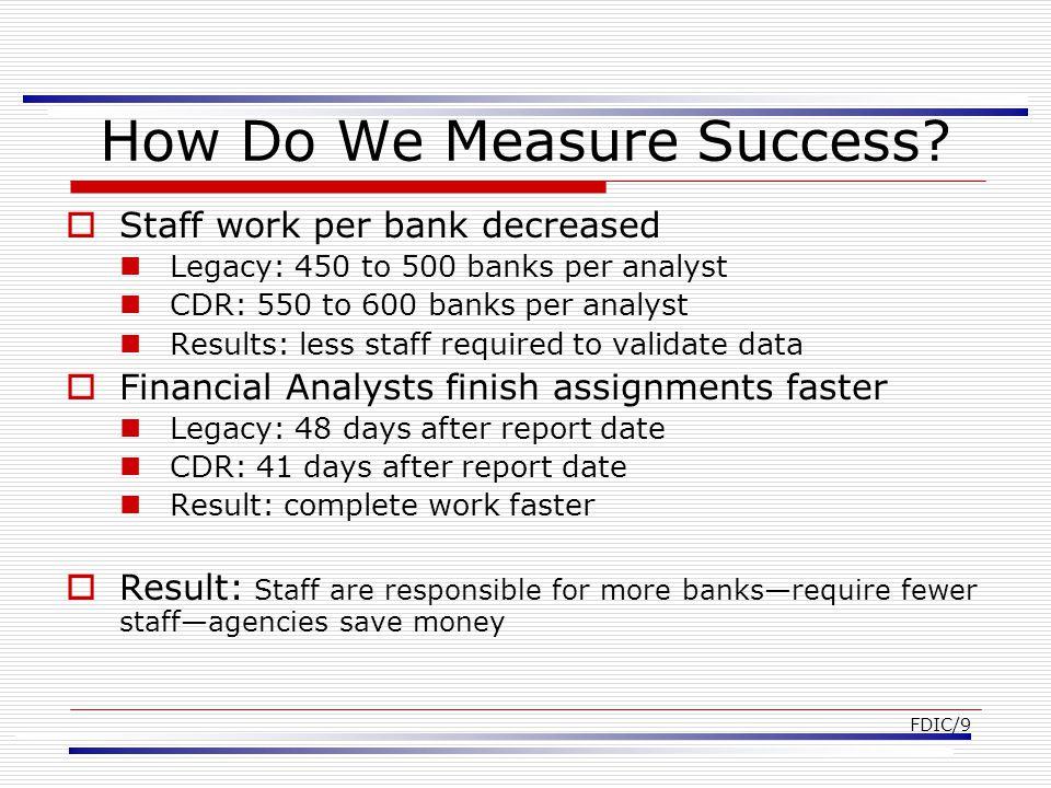 FDIC/9 How Do We Measure Success.