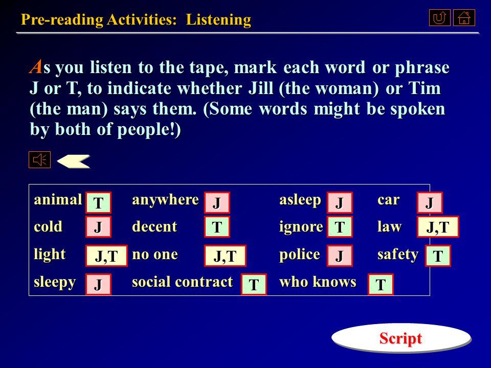 Listening ListeningListening Warm-up Questions Warm-up QuestionsWarm-up QuestionsWarm-up Questions Pre-Reading Activities