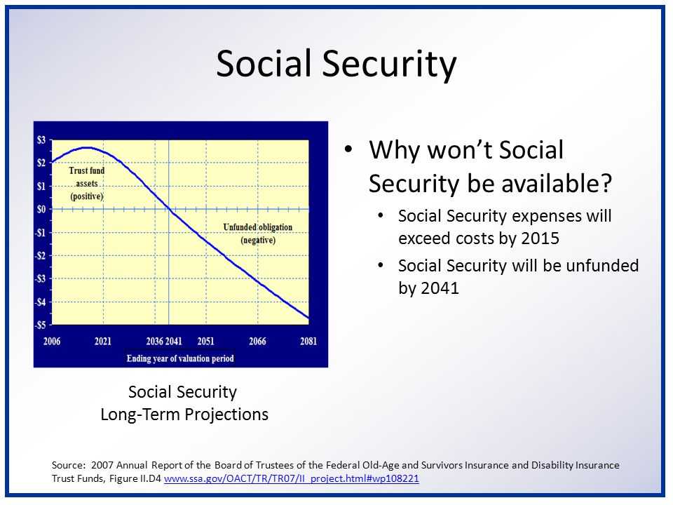 Social Security Why is not having Social Security a concern.