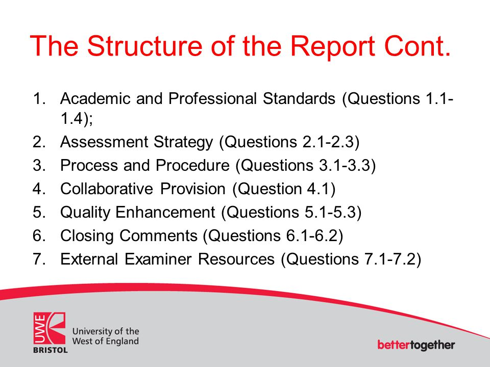 The Structure of the Report Cont.