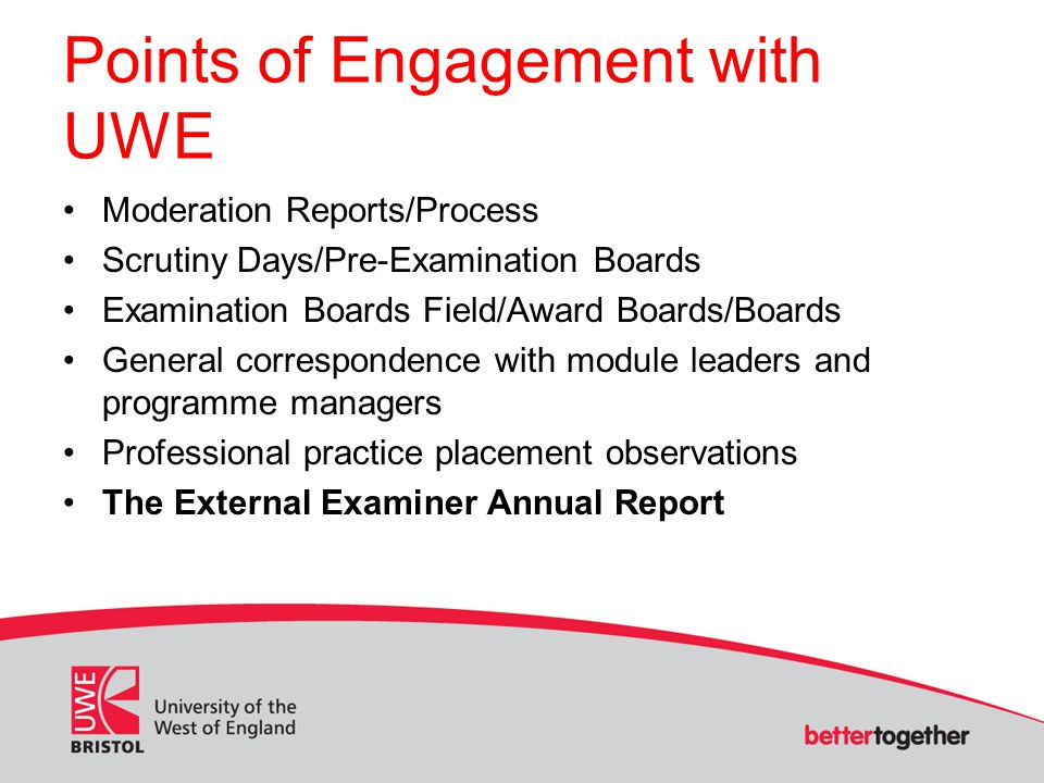 Points of Engagement with UWE Moderation Reports/Process Scrutiny Days/Pre-Examination Boards Examination Boards Field/Award Boards/Boards General correspondence with module leaders and programme managers Professional practice placement observations The External Examiner Annual Report
