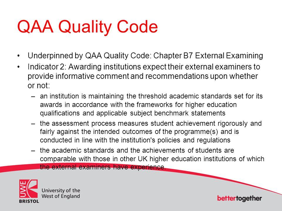 QAA Quality Code Cont.