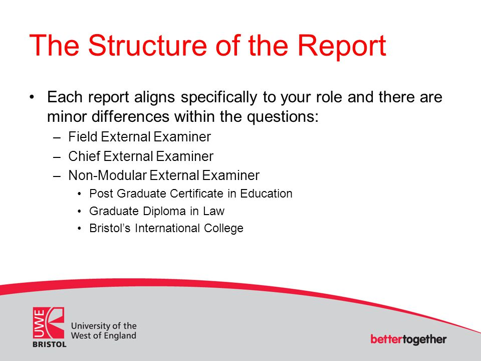 The Structure of the Report Each report aligns specifically to your role and there are minor differences within the questions: –Field External Examiner –Chief External Examiner –Non-Modular External Examiner Post Graduate Certificate in Education Graduate Diploma in Law Bristol's International College