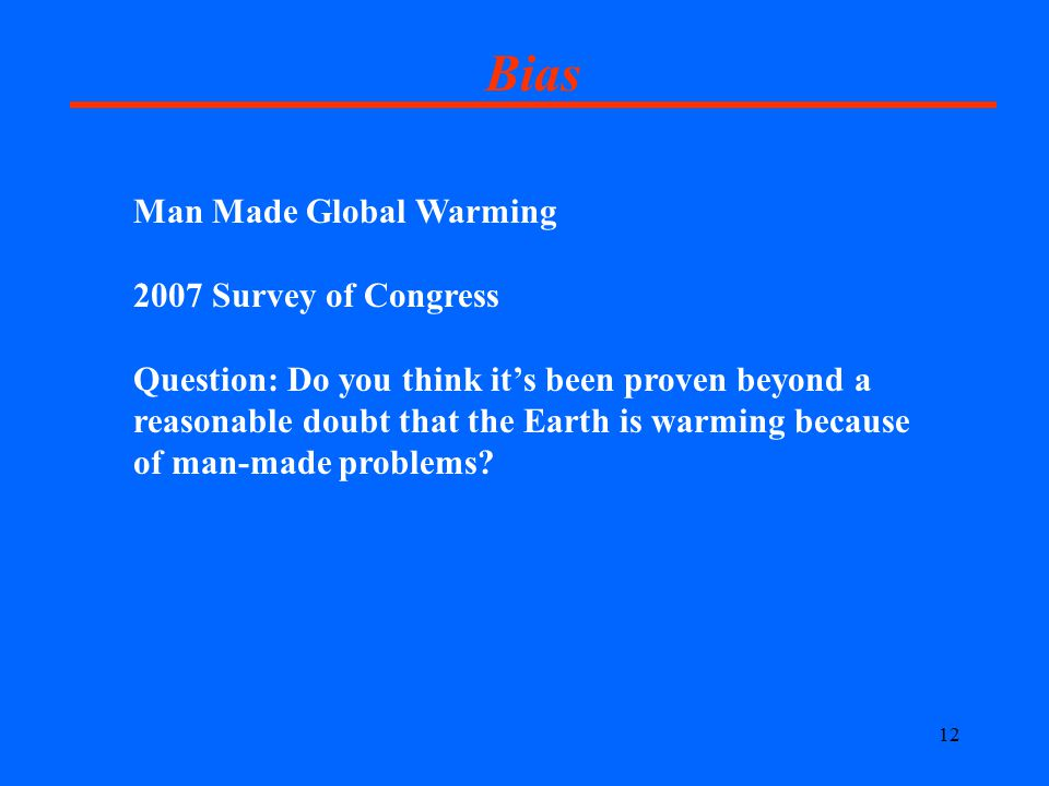 12 Bias Man Made Global Warming 2007 Survey of Congress Question: Do you think it's been proven beyond a reasonable doubt that the Earth is warming because of man-made problems