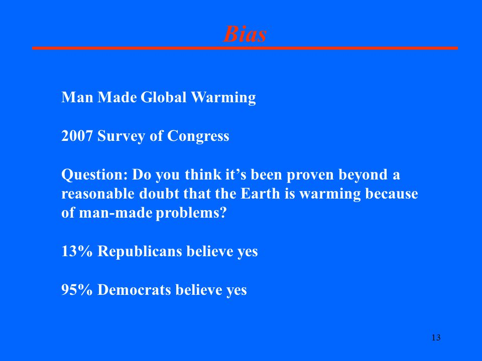 13 Bias Man Made Global Warming 2007 Survey of Congress Question: Do you think it's been proven beyond a reasonable doubt that the Earth is warming because of man-made problems.