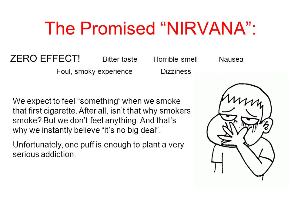 The Promised NIRVANA : Bitter tasteHorrible smell Foul, smoky experience ZERO EFFECT.