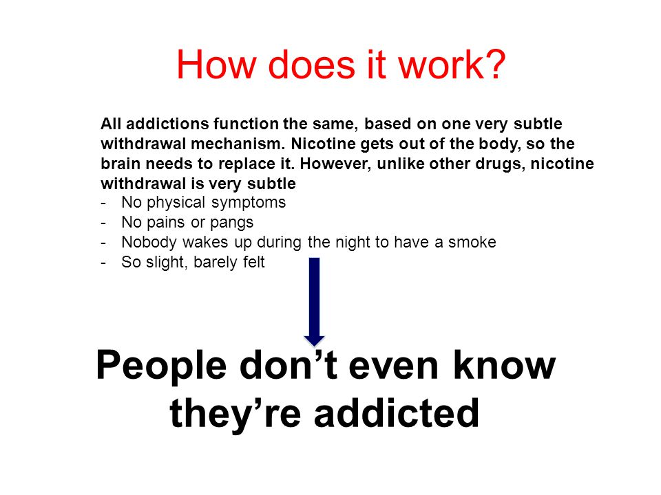 How does it work. All addictions function the same, based on one very subtle withdrawal mechanism.