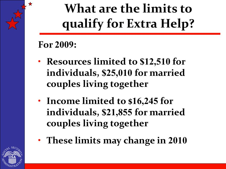 For 2009: Resources limited to $12,510 for individuals, $25,010 for married couples living together Income limited to $ 16,245 for individuals, $21,855 for married couples living together These limits may change in 2010 What are the limits to qualify for Extra Help