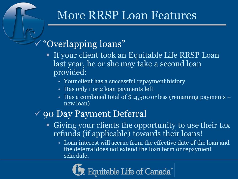 More RRSP Loan Features Overlapping loans  If your client took an Equitable Life RRSP Loan last year, he or she may take a second loan provided: Your client has a successful repayment history Has only 1 or 2 loan payments left Has a combined total of $14,500 or less (remaining payments + new loan) 90 Day Payment Deferral  Giving your clients the opportunity to use their tax refunds (if applicable) towards their loans.