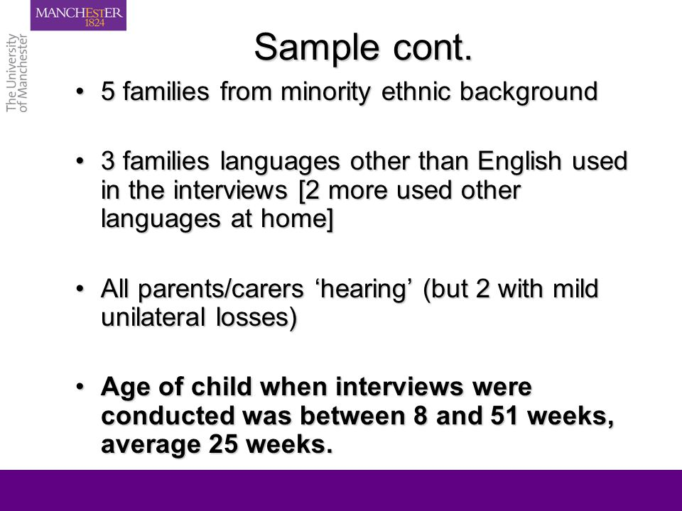 Overview of parents' attitudes to knowing early Very positive because picked up earlyVery positive because picked up early Initial positive had been modified by perceived lack of actionInitial positive had been modified by perceived lack of action Positive but wondering if too earlyPositive but wondering if too early