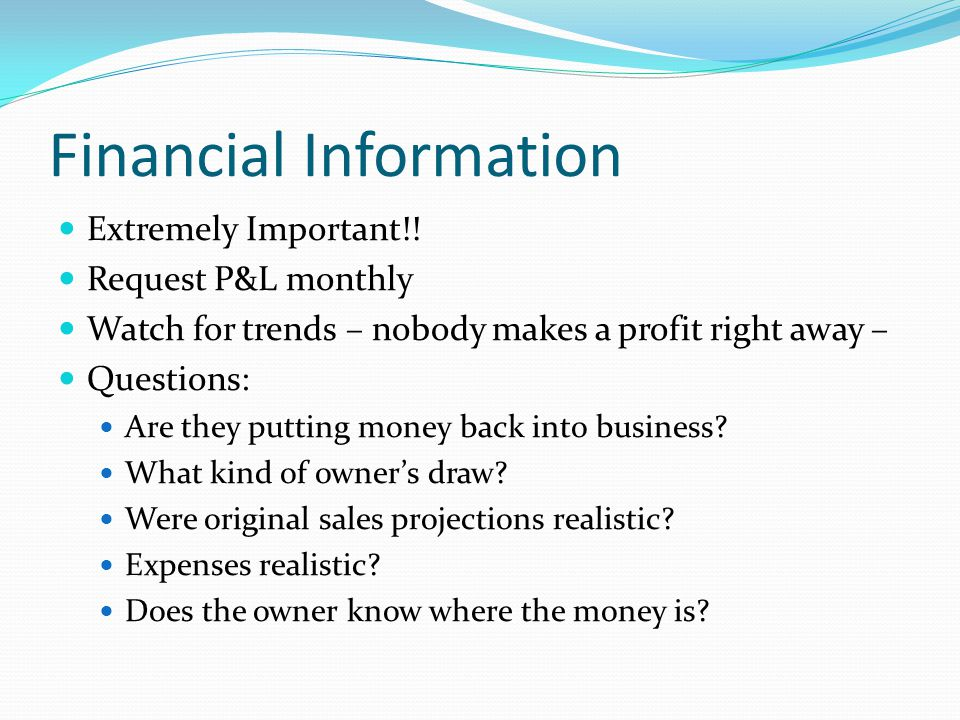 Financial Information Extremely Important!.
