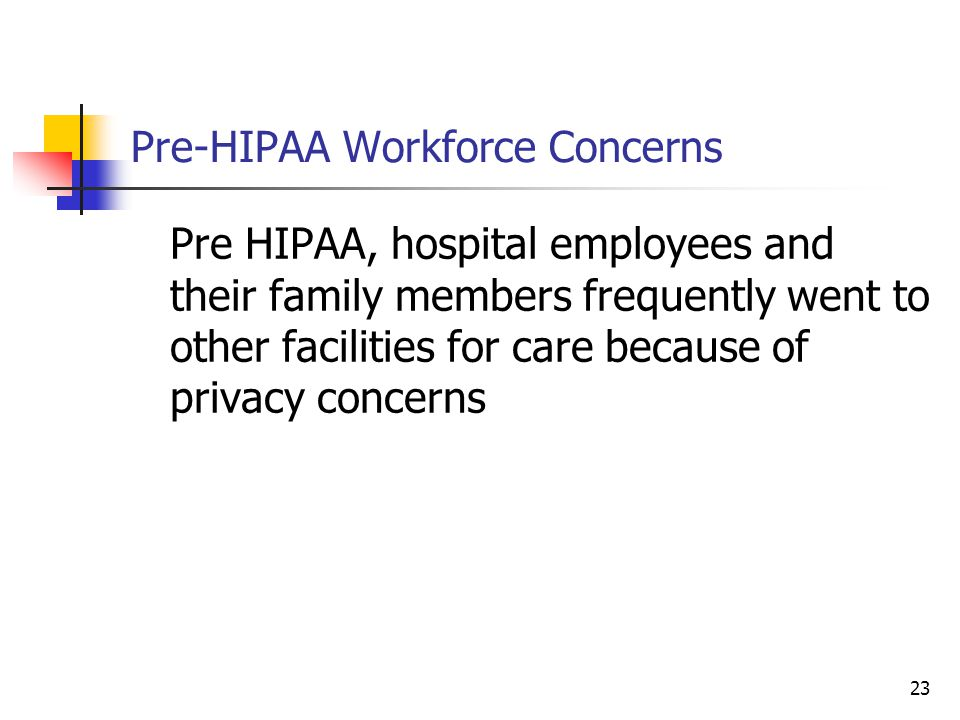 23 Pre-HIPAA Workforce Concerns Pre HIPAA, hospital employees and their family members frequently went to other facilities for care because of privacy concerns